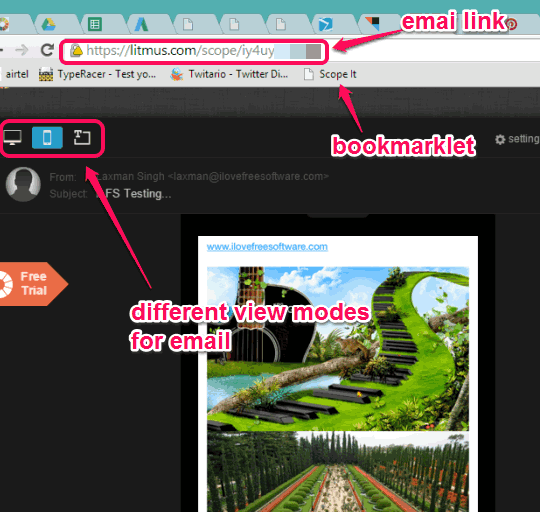 share emails and preview email with desktop and mobile view mode