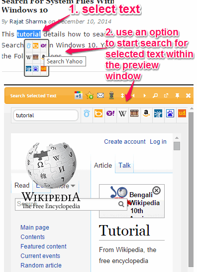 start search for a selected text within the preview window