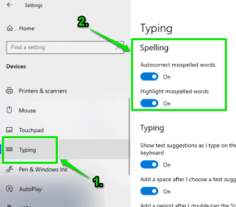 turn autocorrect misspelled words in typing page