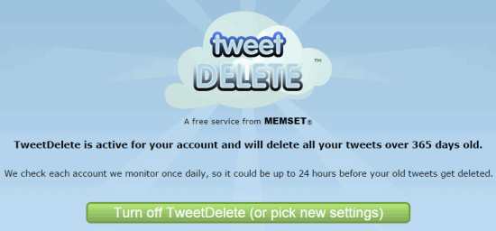 turn off TweetDelete