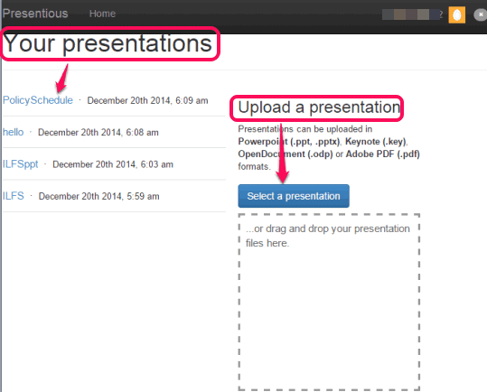 upload a presentation