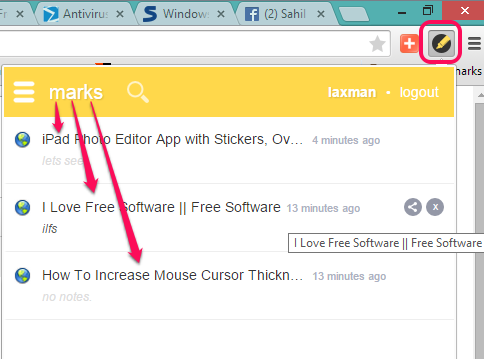 use Google Chrome extension icon of Markticle to access saved marks