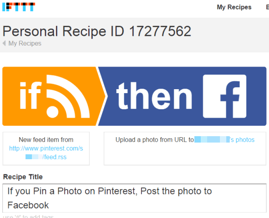 IFTTT recipe to auto post Pinterest pins to your Facebook account