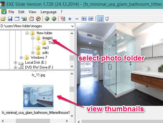 use navigation pane to select photo folder