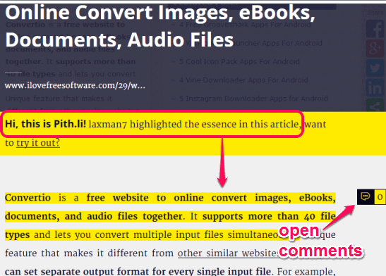view webpage with highlighted text and read comments