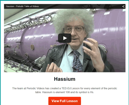 watch video lesson for each individual element of periodic table