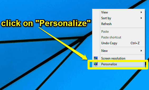 windows 10 access personalize menu