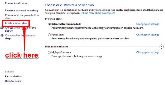 windows 10 access power options