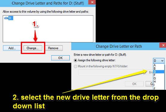 windows 10 assign a new drive letter