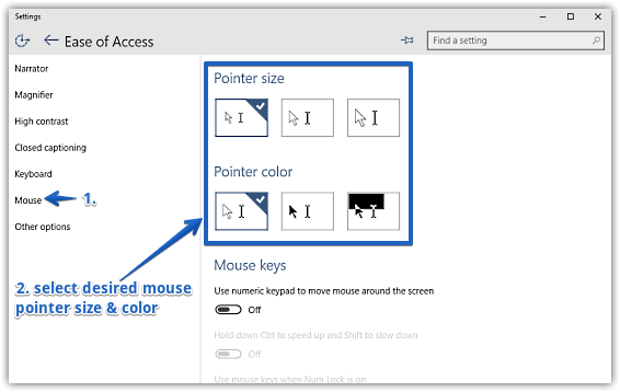 windows 10 change mouse pointer size and color