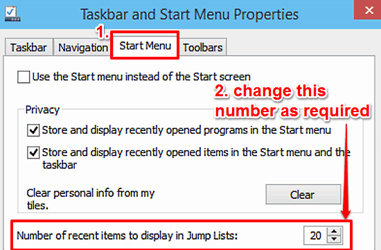 windows 10 change number of recent items in jump lists