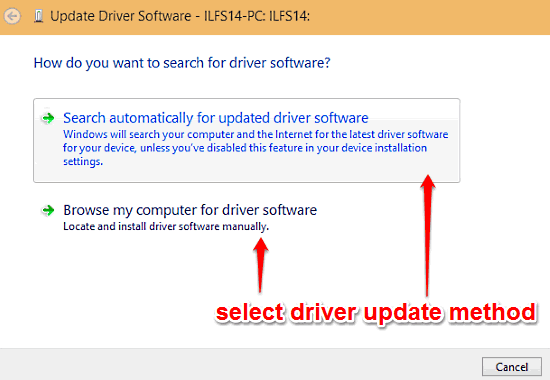 windows 10 choose driver update method