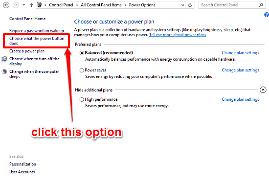 windows 10 choose what power button does
