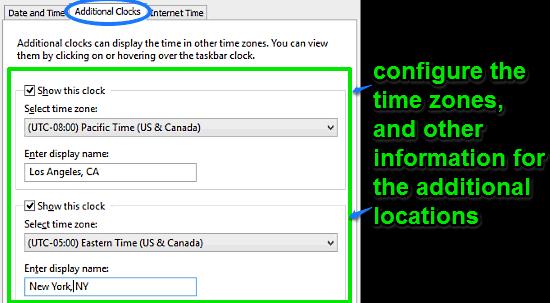 windows 10 configure additional clocks