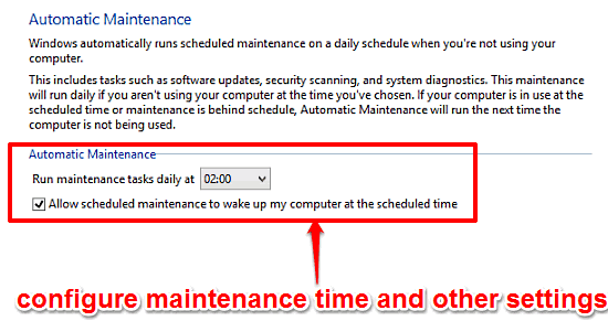 windows 10 configure automatic system maintenance