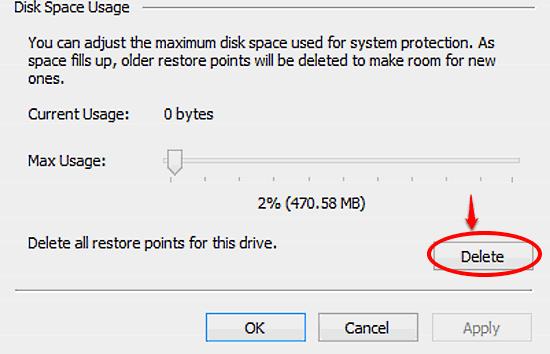 windows 10 delete system restore points