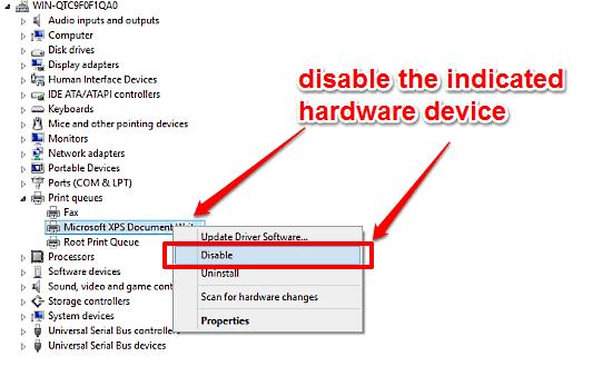 windows 10 disable hardware device