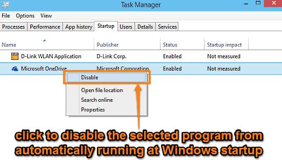 windows 10 disable startup programs