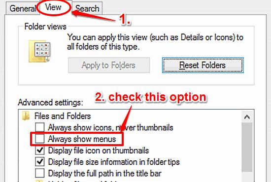 windows 10 enable menus