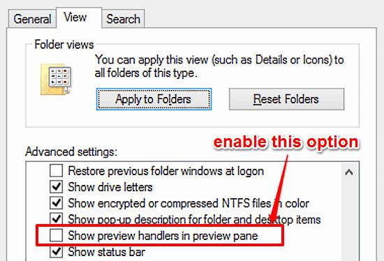 windows 10 enable preview handlers
