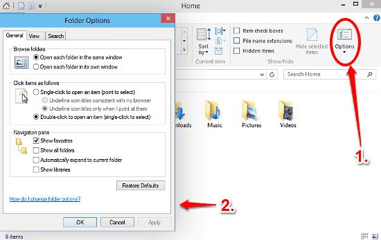 windows 10 folder options