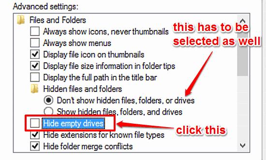 windows 10 hide empty disk drives