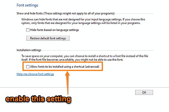 windows 10 install fonts using a shortcut