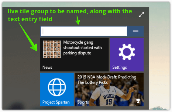 windows 10 live tile groups to be named