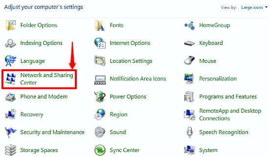 windows 10 network and sharing center access