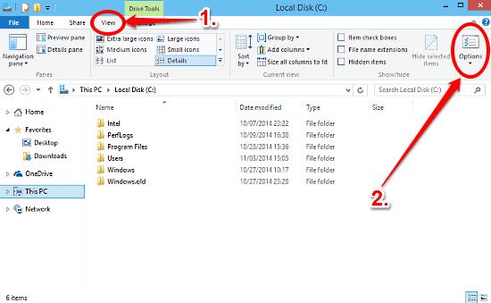 windows 10 open folder options