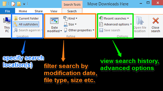 windows 10 search tab explained