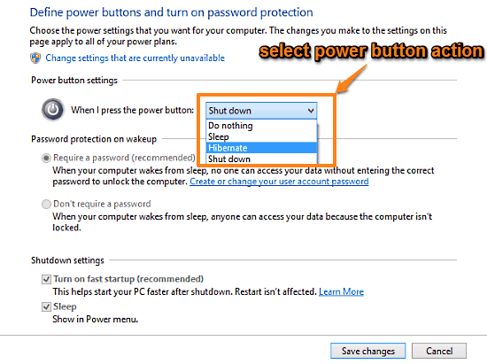 windows 10 select action to be triggered when power button is pressed