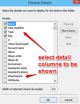 windows 10 select detail columns