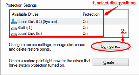 windows 10 select disk partition for deleting restore points
