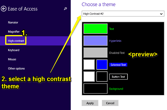 windows 10 select high contrast themes
