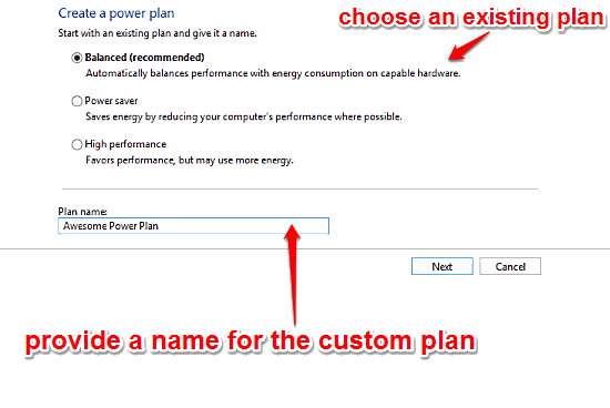 windows 10 select intitial plan and name