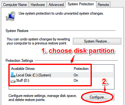 windows 10 select partition for setting disk limit