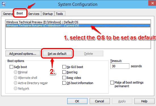 windows 10 set an os as boot default