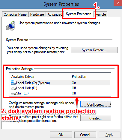 windows 10 system protection tab