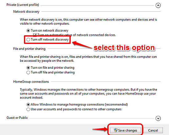 windows 10 turn off network discovery