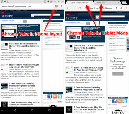 Chrome Phone Layout vs Tablet Layout