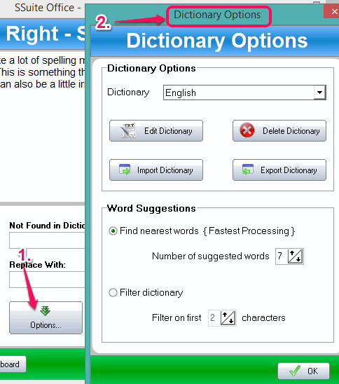 Dictionary Options window