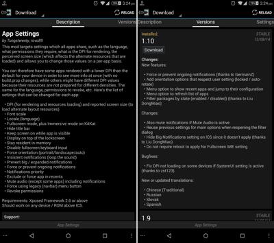 Download App Settings