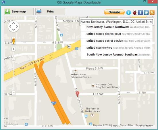 FSS Google Maps Downloader- interface