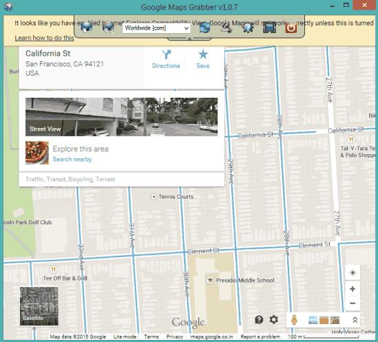 Google Maps Grabber- interface