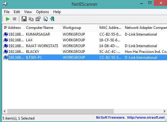 NetBScanner- interface
