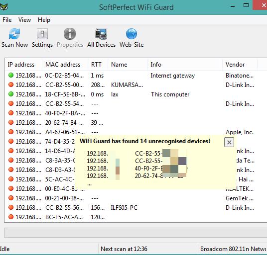 SoftPerfect WiFi Guard- interface