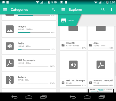 Unclouded for Android - Categories and Explorer