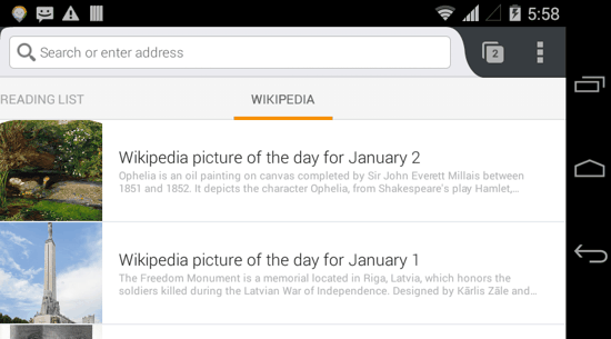 Wikipedia Panel in Firefox Android