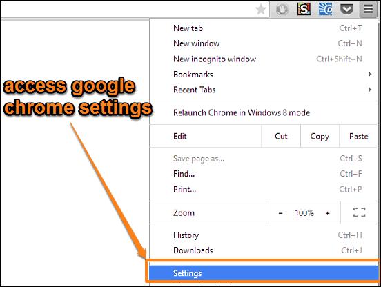 access google chrome settings